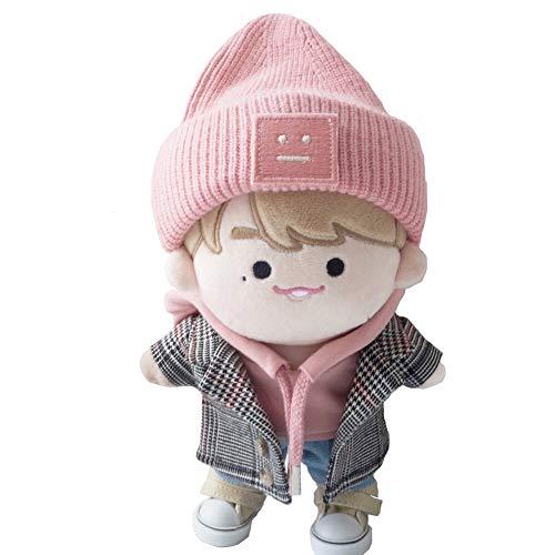 Cute Kpop EXO Bangtan Boy SUGA Kang Daniel Plush Doll's Clothes Pink Sweater Hat Coat Pants White Shoes (Hat+Sweater+Pants+White Shoes, Suitable for 15cm Dolls)
